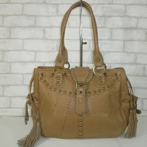 Isabella Fiore Tan Leather Laced Studded  Bag